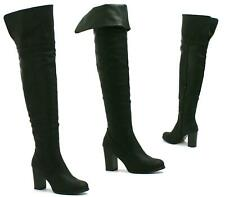 LADIES FAUX LEATHER HIGH BLOCK HEEL OVER THE KNEE HIGH FOLD COLLAR ZIP BOOTS