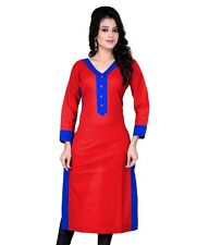 Janasya Women's Summer Red Cotton Kurti Top Tunic