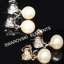 SALE Bridesmaid 18K Rose / White Gold Plated Earrings use Pearls Crystal E461
