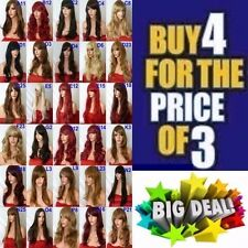 Brown Red Black Blonde WIG Long Straight Curl Wavy FULL WOMEN LADIES HAIR WIG