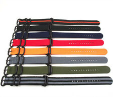 NATO G10 Nylon Strap Strong Watch Band (Black 5 Ring Zulu Buckle) 18-24 MM
