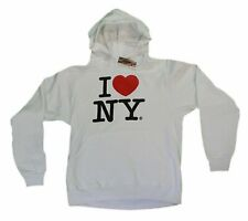 I Love NY New York Hoodie Screen Print Heart Sweatshirt White NYC Shirt Gifts