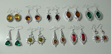 Silver Plated Earrings 925 Women Girls Simulated Gemstone Hook Statement Citrine