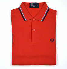 Fred Perry, Slim Fit Twin Tipped Polo Shirt, Vintage Red, Rot, Polo, M3600, Neu