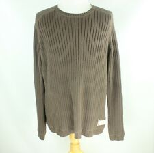Ralps Lauren Jean men L/XL cable sweater brown crewneck pullover jumper ls knit