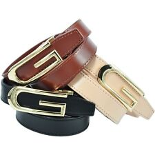 Brand New G Buckle Genuine Leather Ladies 2cm Wide Designer Belt RRP $79.99