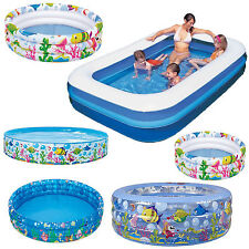 INFLATABLE GARDEN KIDS PADDLING POOL BABY 3-RING SEA OCEAN LIFE SWIMMING PLAY
