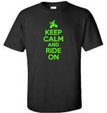 Keep Calm And Ride On Motocross T-Shirt Funny Humor Mens Tee