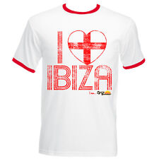 I Love Ibiza: England Loves Ibiza Men's Vintage T-shirt in White Red Navy