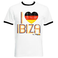 I Love Ibiza: Germany Loves Ibiza Vintage Men's T-shirt in White Black Green
