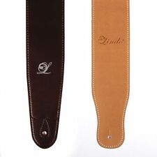 Lindo Black/ Brown Faux Leather Guitar Strap for Acoustic/ Electric/ Bass Guitar