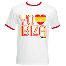 I Love Ibiza: Spain Loves Ibiza Men's Vintage T-shirt in Red White Black