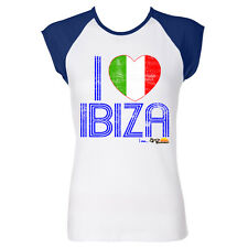 I Love Ibiza: Italy Loves Ibiza Women's Vintage T-shirt in Blue White Red