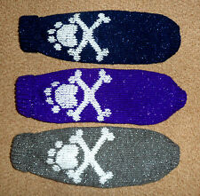 Hand Knitted Paw & Cross Bones Sparkly Dog Jumper with Roll Neck. Small. Trendy!