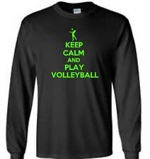 Keep Calm And Play Volleyball Mens Long Sleeve T-Shirt Funny Humor Mens Tee