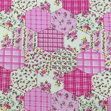 "Printed poly cotton Pink Hexagon Patchwork 115cm 45"" wide sold by metre"