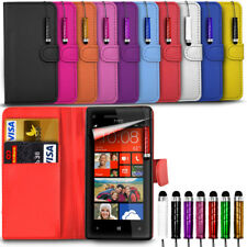 Alcatel One Touch Pop 4 5051X - Leather Wallet Card Slot Case Cover &Mini Stylus