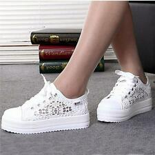 Fashion femme chaussures toile floral maille respirant plateforme baskets tennis