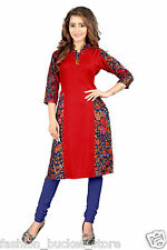 Designer Casual Wear Red Cotton Kurti