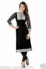 Designer Casual Wear Black Cotton Kurti