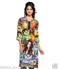 Designer Casual Wear Multi Color Cotton Kurti
