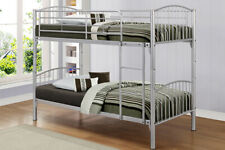 Split into 2 Single Beds Kids 3ft Mesh Base Bunk Bed Silver Ladder Metal Curved
