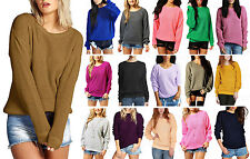 Womens Girls Oversized Baggy Long Thick Knitted Plain Chunky Top Sweater Jumper