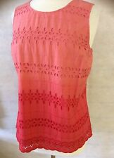 ExM&S COLLECTION LADIES TIE DYE ORANGE SLEEVELESS COTTON TOP SIZE'S 10 12 14 16