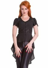 Spin Doctor Ayla Gothic Steampunk VTG Crescent Moon Witches Women's Blouse Black