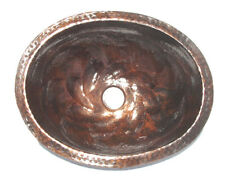 Mexican Copper Bathroom Sink Hand Hammered Oval Drop in  014