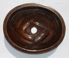 Mexican Copper Bathroom Sink Hand Hammered Oval Drop in  015