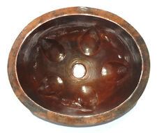 Mexican Copper Bathroom Sink Hand Hammered Oval Drop in  21