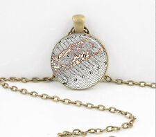 Long Island Hamptons Montauk Map Pendant Necklace or Key Ring