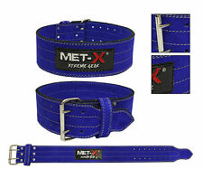 MET-X Weight Lifting Nubuck Leather Power Lifting Gym Belts Back Strap Blue