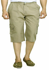 Mens 100 % Cotton Shorts 3/4 Capri Zip Pockets Cargo Shorts, Bermudas
