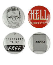 Jean-Paul Sartre Badge, existentialism, france, philosopher, Nausea, quotes,book