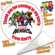 24 Personalised Super Heroes DIY Sweet Cone Ribbon Party Bags Kit Stickers 167
