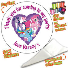 24 Personalised My Little Pony DIY Sweet Cone Bags Ribbon Party Kit Stickers 066