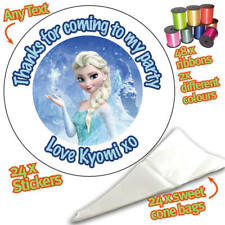 24 Personalised Frozen Elsa DIY Sweet Cone Ribbon Party Bags Kit Stickers -065