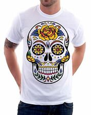 t-shirt Skull mexican style, fiori rose - To give happiness by tshirteria f138
