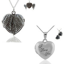 925 STERLING SILVER ANGEL WINGS HEART LOCKET PENDANT WITH CHAIN NECKLACE