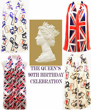 UK HM the Queen 90th Birthday Celebration Crown Jewels Union Jack Satin Scarf GB