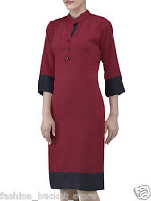 Designer Casual Wear Maroon Plain Printed Crep New Kurti Design