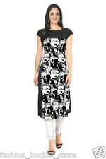 Fashion Bucket Designer Casual Wear Cotton Black Printed Kurti