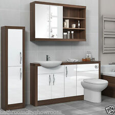 Bathroom Furniture Suite Vanity Mirror Tall Cabinet with-out Unit Walnut & White