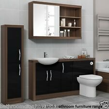 Bathroom Furniture Suite Vanity Mirror Tall Cabinet with-out Unit Walnut & Black