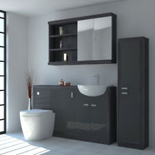 Bathroom Furniture Suite Vanity Mirror Tall Cabinet with-out Unit Grey & Silver