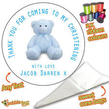24 Personalised Blue Bear DIY Sweet Cone Ribbon Party Bags Kit Stickers - 243