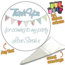 24 Personalised Bunting DIY Sweet Cone Ribbon Party Bags Kit Stickers -394