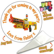 24 Personalised Nerf Gun DIY Sweet Cone Ribbon Party Bags Kit Stickers 060